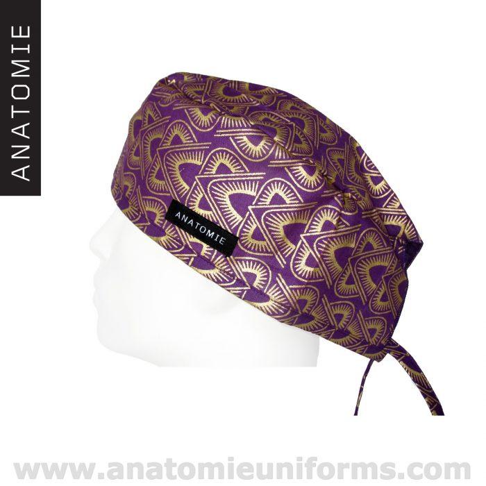 Surgical Caps  ANATOMIE Purple Gold Pyramids ANA044