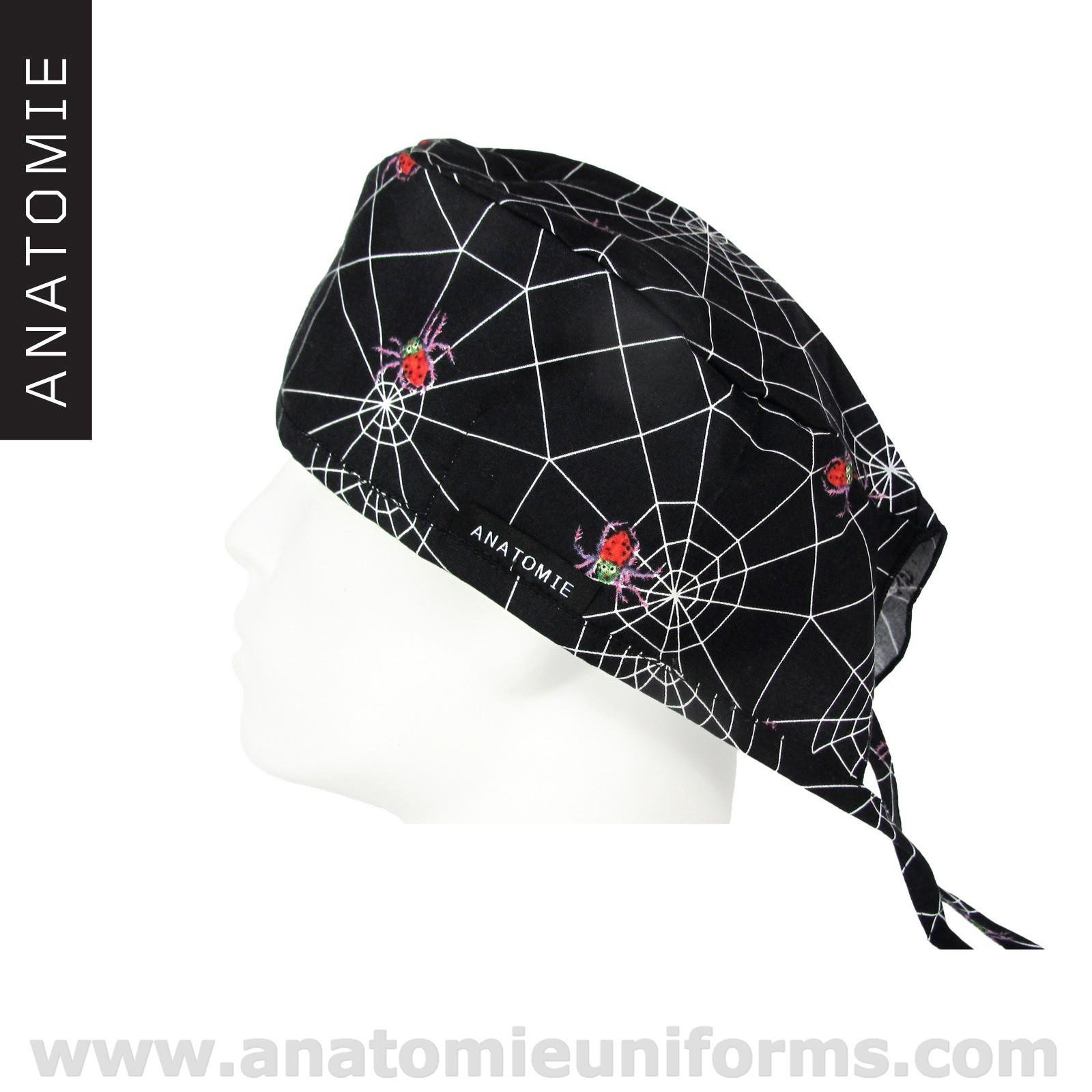 Black Surgical Caps Spiders and spiders webs - ANA056