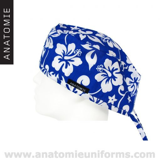 Hawaiian Surgical Caps Blue Flowers - ANA054