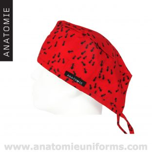 Surgical Caps Red Fabric with ants - ANA052