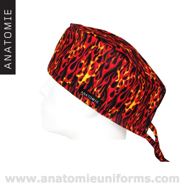 Surgical Caps Red Yellow Flmaes – ANA060