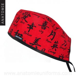 Surgical Caps Chinese Alphabet Red - 0108